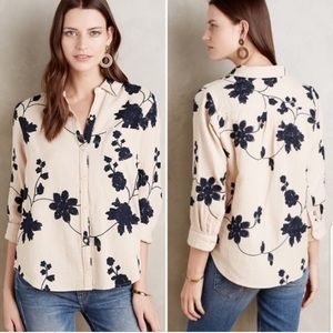 Anthropology Retro Floral Embroidered Button Up